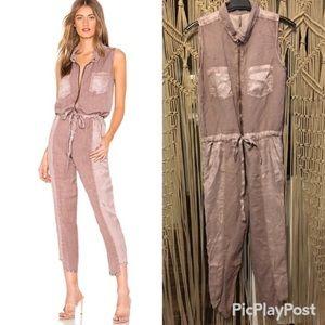 Yfb Clothing Linette Linen-blend Jumpsuit in Teak